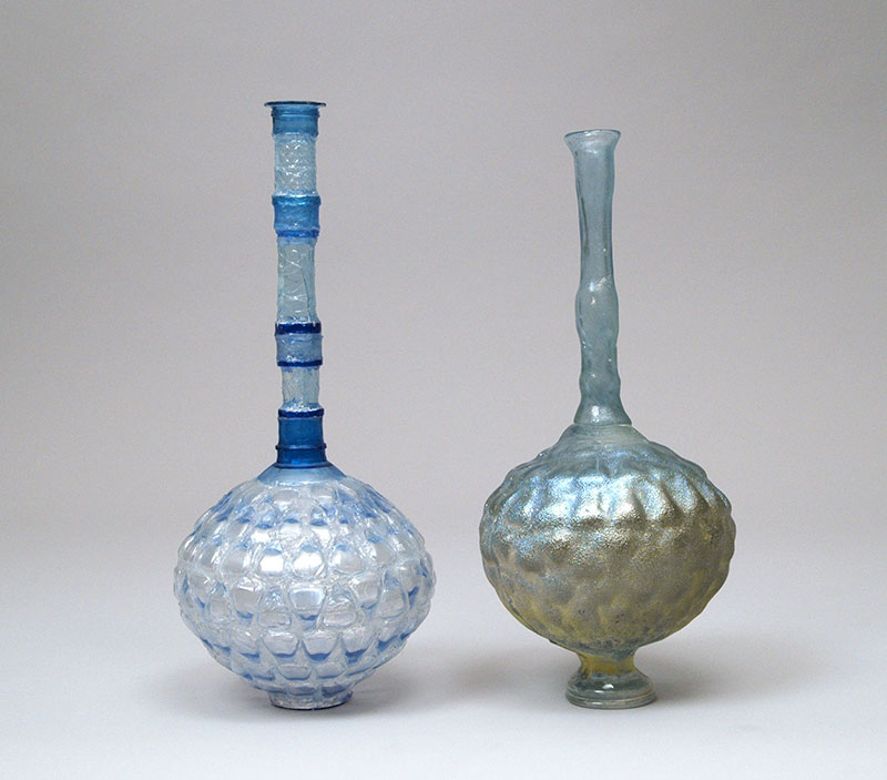 2 Blue Vessels with Long Necks